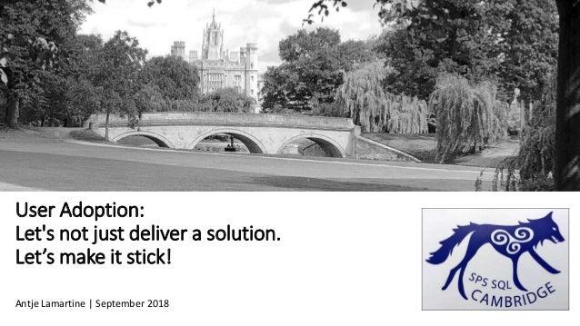 User Adoption: Let's not just deliver a solution. Let's make it stick! Antje Lamartine | September 2018