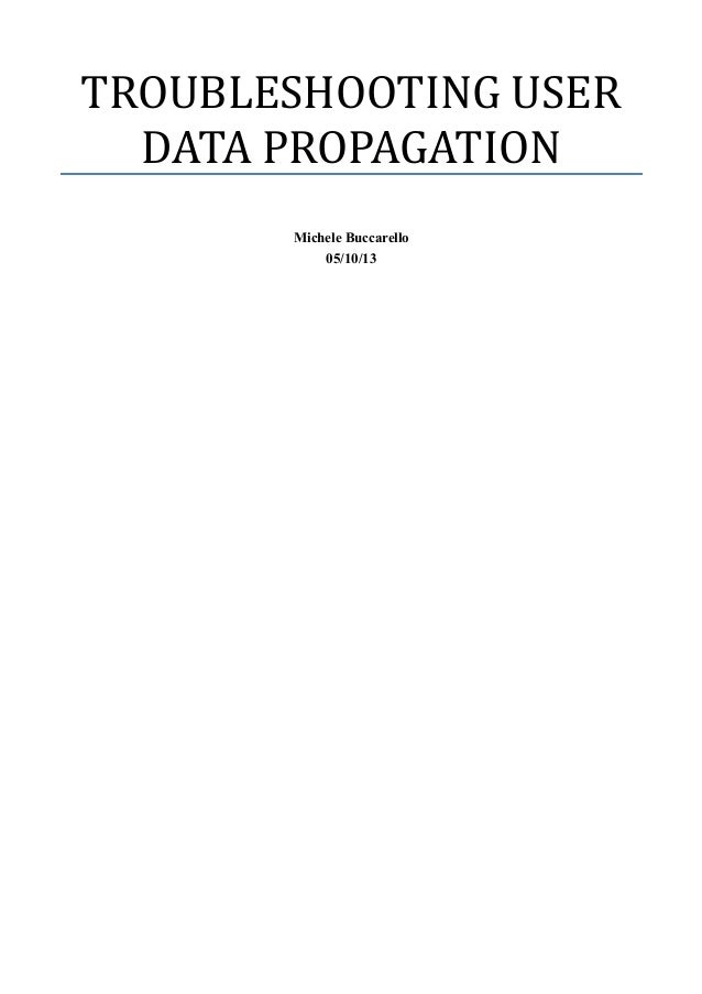 TROUBLESHOOTING USER DATA PROPAGATION Michele Buccarello 05/10/13