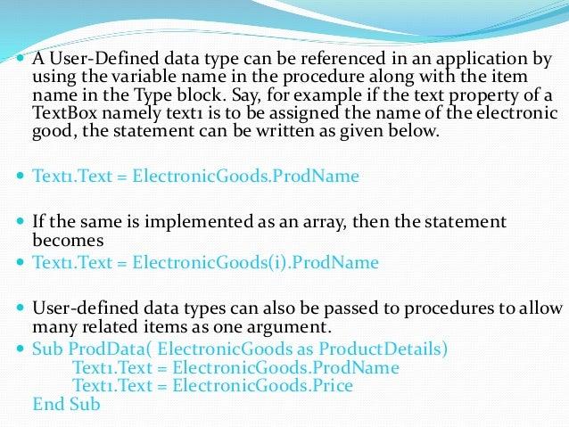 User define data type In Visual Basic