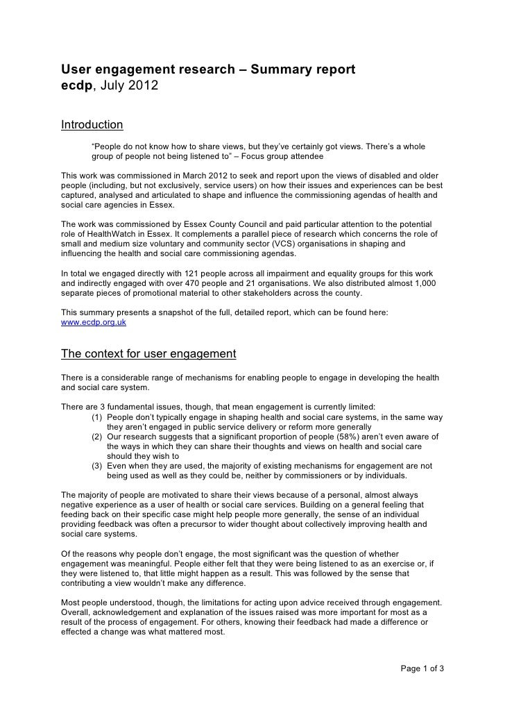"User engagement research – Summary reportecdp, July 2012Introduction        ""People do not know how to share views, but th..."