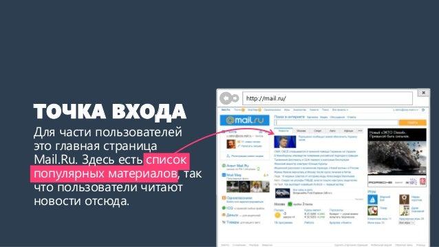 ТОЧКА ВХОДА  Для части пользователей это главная страница Mail.Ru. Здесь есть список популярных материалов, так что пользо...