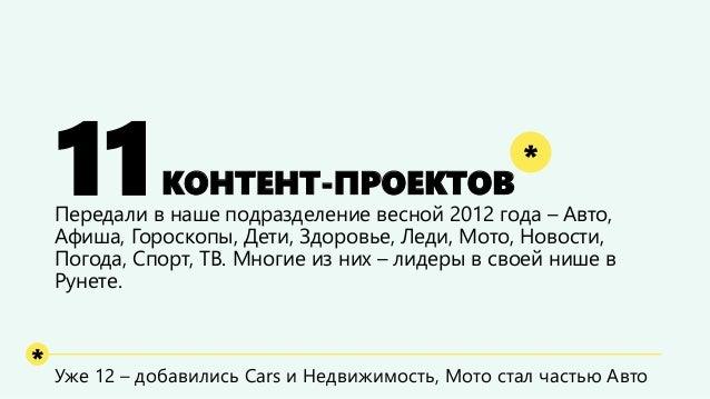 11КОНТЕНТ-ПРОЕКТОВ  Передали в наше подразделение весной 2012 года –Авто, Афиша, Гороскопы, Дети, Здоровье, Леди, Мото, Но...