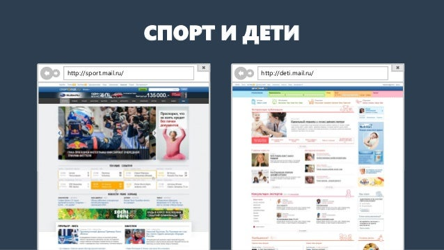 СПОРТ И ДЕТИ  http://sport.mail.ru/  http://deti.mail.ru/