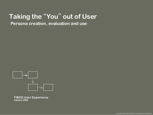 """Taking the """"You"""" out of User Persona creation, evaluation and use  TIBCO User Experience January 2008  Copyright 2007 TIBC..."""