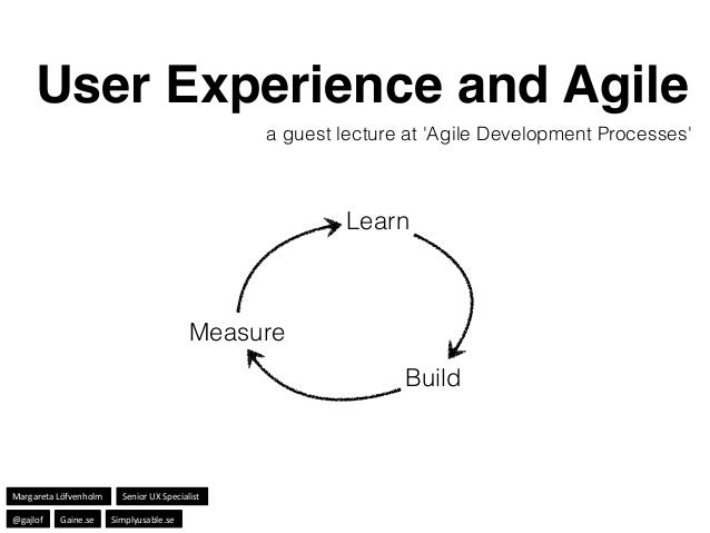 a guest lecture at 'Agile Development Processes' Learn Build Measure User Experience and Agile Margareta'Löfvenholm' Senio...