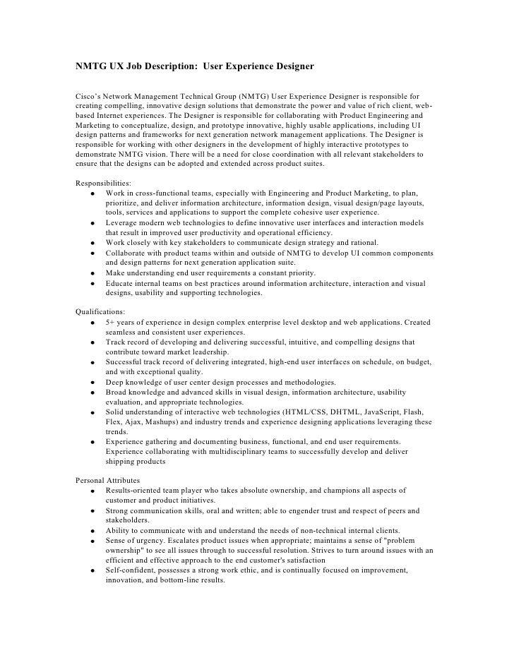 User Experience Designer Job Description