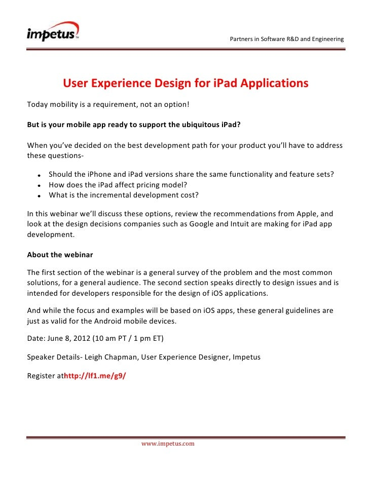 Partners in Software R&D and Engineering          User Experience Design for iPad ApplicationsToday mobility is a requirem...