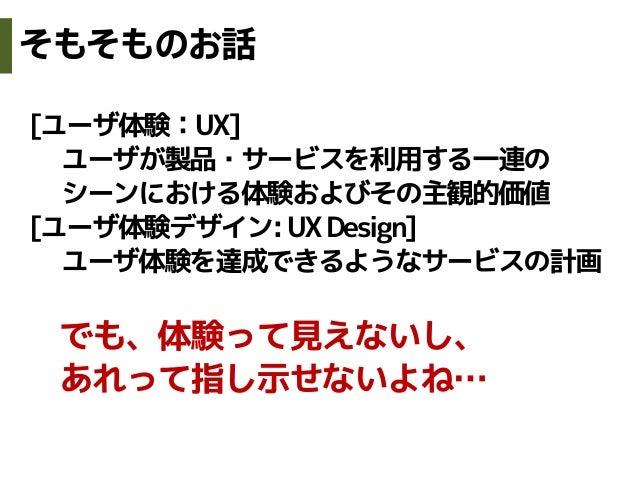 [ユーザ体験:UX]ユーザが製品・サービスを利用する一連のシーンにおける体験およびその主観的価値[ユーザ体験デザイン:UXDesign]ユーザ体験を達成できるようなサービスの計画でも、体験って見えないし、あれって指し示せないよね…そもそものお話