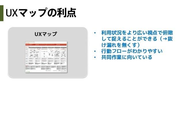 UXマップ • 利用状況をより広い視点で俯瞰して捉えることができる(→抜け漏れを無くす)• 行動フローがわかりやすい• 共同作業に向いているUXマップの利点