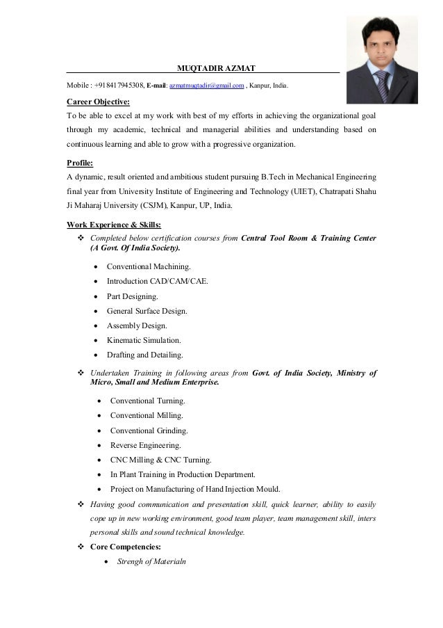 career objective for mechanical engineer resume - Mechanical Engineering Resume