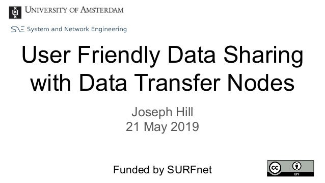 User Friendly Data Sharing with Data Transfer Nodes Joseph Hill 21 May 2019 Funded by SURFnet