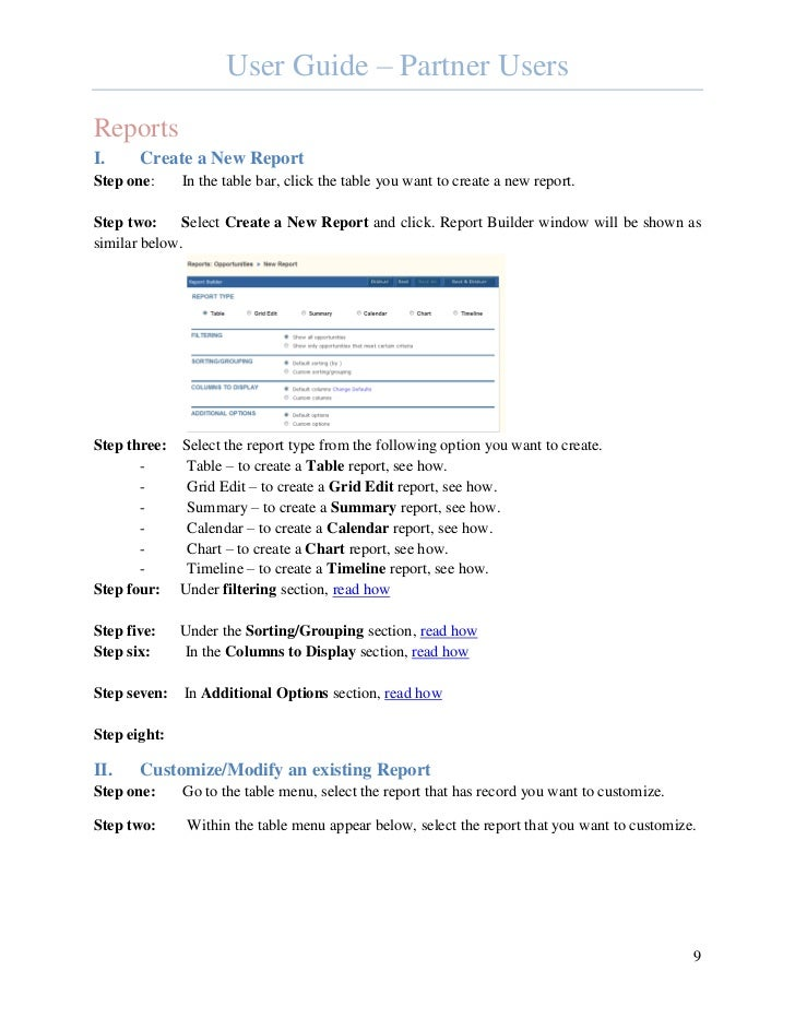 User Guide – Partner UsersReportsI.     Create a New ReportStep one:     In the table bar, click the table you want to cre...