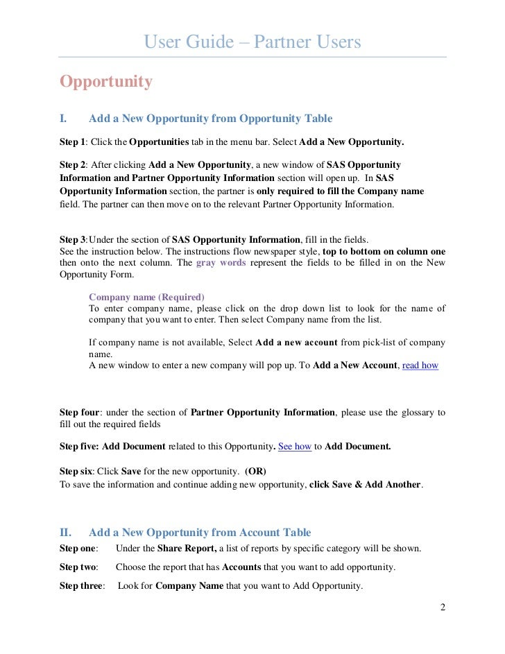 User Guide – Partner UsersOpportunityI.     Add a New Opportunity from Opportunity TableStep 1: Click the Opportunities ta...