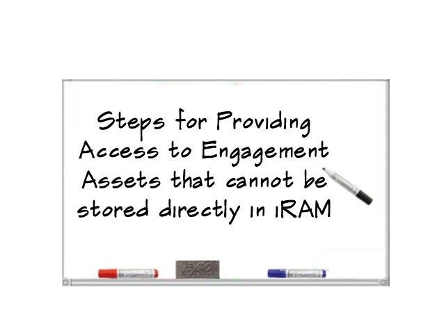 Steps for ProvidingAccess to EngagementAssets that cannot bestored directly in iRAM