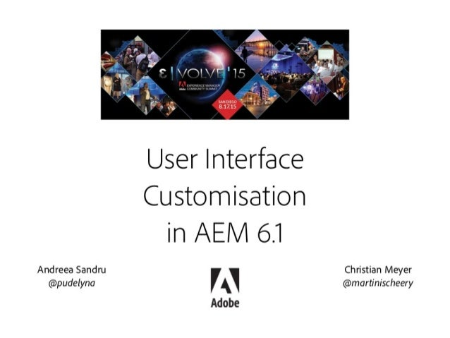 User Interface  Customisation in AEi/ i 6.1  Andreea Sandru T '— Christian Meyer A ' ,    (d>pudelyna (amartinischeery  Ad...