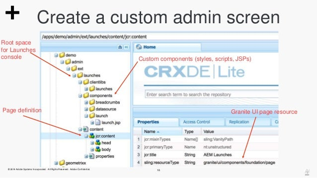 Create a custom admin screen  Root space  for Launches  console  Custom components (styles, scripts, JSPs)  Page definitio...