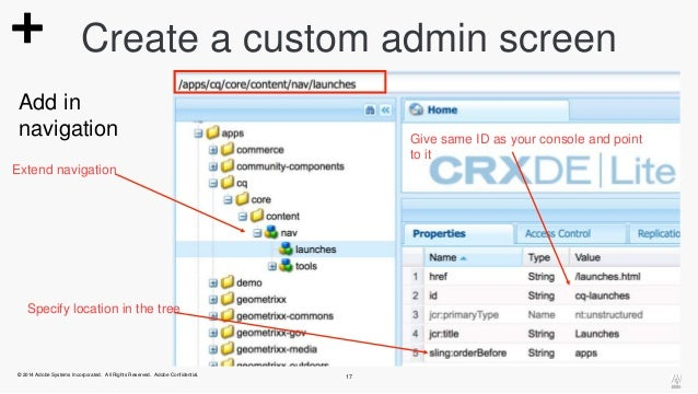 Create a custom admin screen  Add in  navigation Give same ID as your console and point  Extend navigation  © 2014 Adobe S...