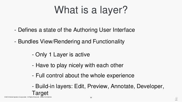 What is a layer?  - Defines a state of the Authoring User Interface  - Bundles View/Rendering and Functionality  - Only 1 ...