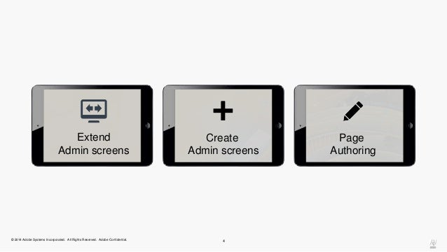 Extend  Admin screens  Create  Admin screens  © 2014 Adobe Systems Incorporated. All Rights Reserved. Adobe Confidential. ...