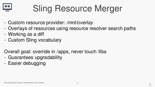 Sling Resource Merger  - Custom resource provider: /mnt/overlay  - Overlays of resources using resource resolver search pa...