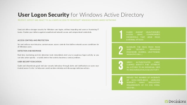 PROTECT, DETECT AND REACT TO ALL USER'S ACCESS TO MICROSOFT WINDOWS SERVER-BASED NETWORKS User Logon Security for Windows ...