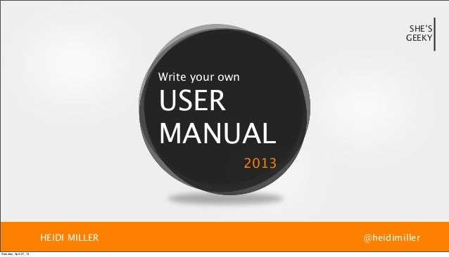 Write your own user manual