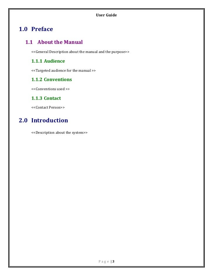 User manual template for Operator manual template