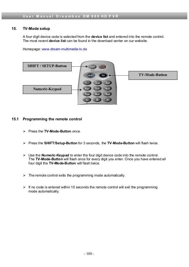 Dreambox 800 Manual