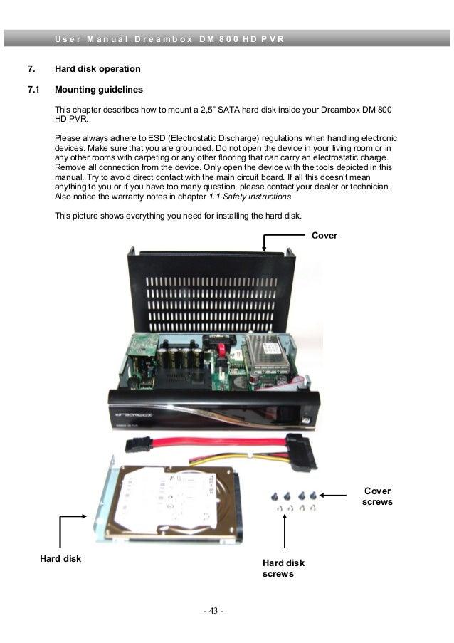 Dreambox dm800 Pvr manual