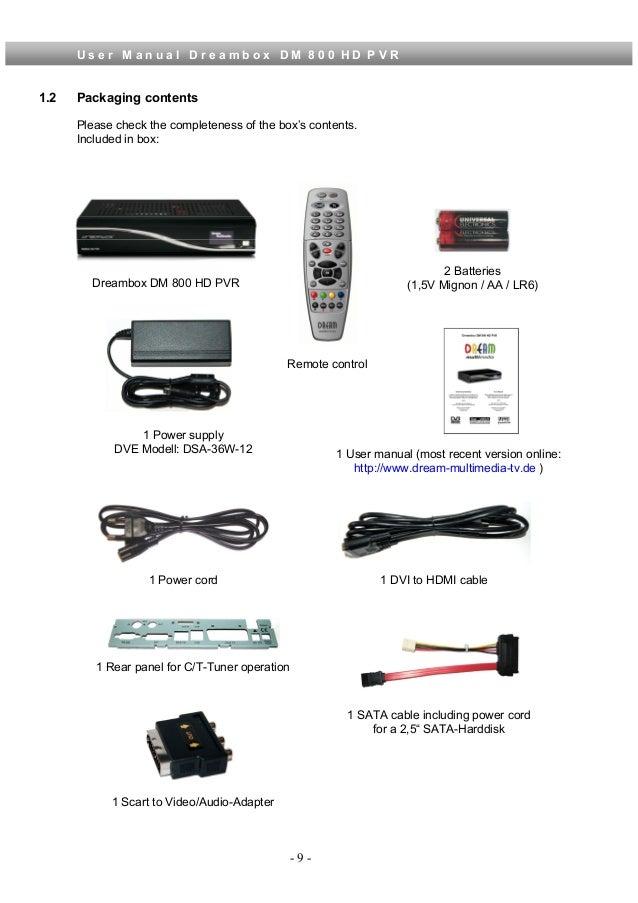 User manual dm800_hd