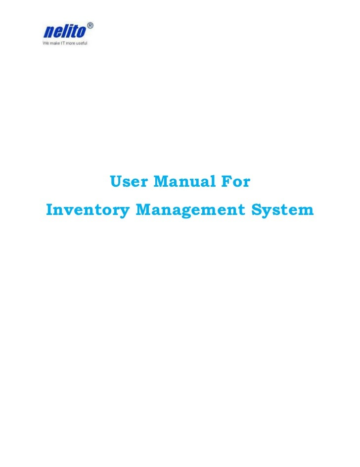 User Manual ForInventory Management System