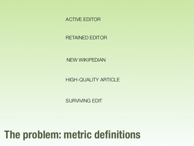 The problem: metric definitions ACTIVE EDITOR RETAINED EDITOR HIGH-QUALITY ARTICLE NEW WIKIPEDIAN SURVIVING EDIT