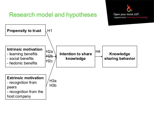 intinsic motivation for knowledge sharing Hence, instead of extrinsic motivation, knowledge workers are instead seeking intrinsic motivation in social recognition and power [51][43], noting it is common for knowledge workers to trade material rewards for sociological ones, amar is, in effect, suggesting using extrinsic rewards to create intrinsic motivation believing intrinsic.