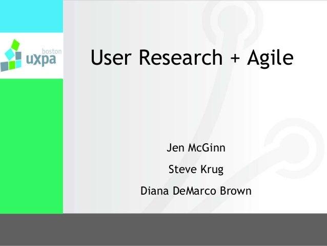 User Research + AgileJen McGinnSteve KrugDiana DeMarco Brown