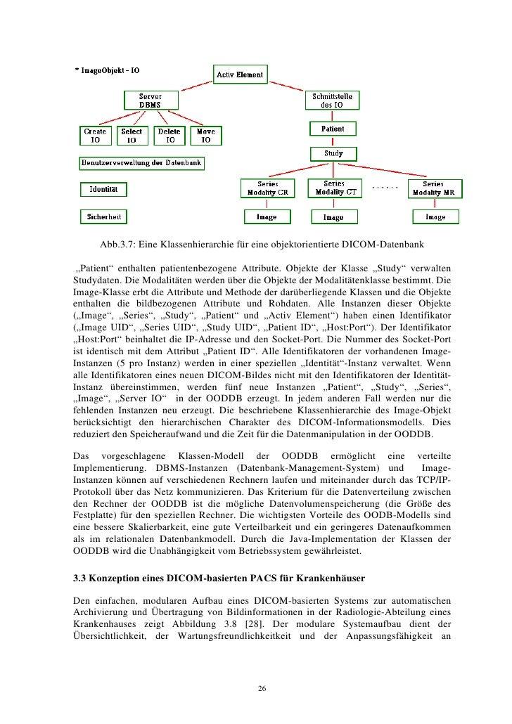 """Abb.3.7: Eine Klassenhierarchie für eine objektorientierte DICOM-Datenbank   """"Patient"""" enthalten patientenbezogene Attribu..."""