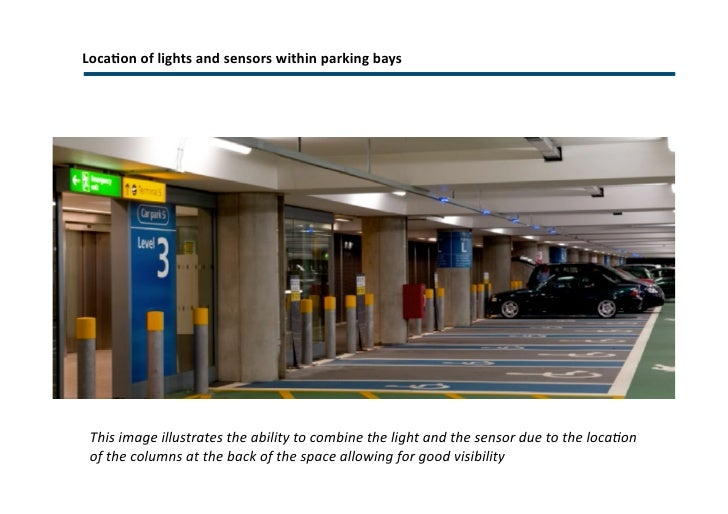 Parking bay sensors and indicators <ul><li>Ultrasonic detection </li></ul><ul><li>High visibility </li></ul>Each parking b...