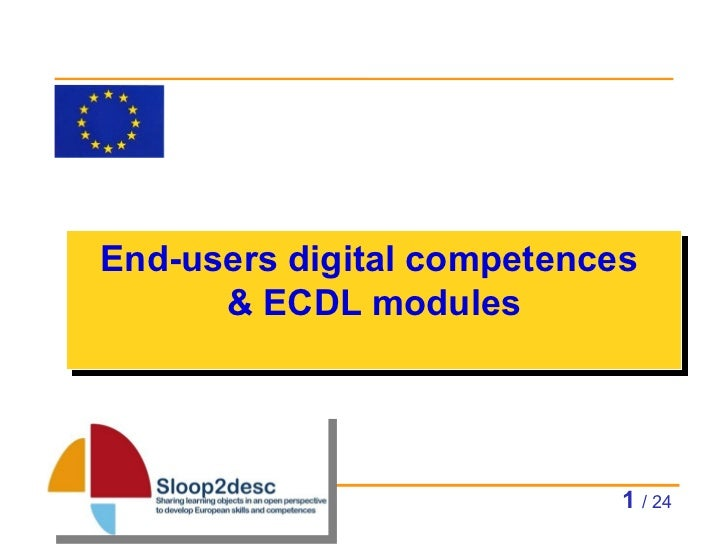 End-users digital competences  & ECDL modules   / 24