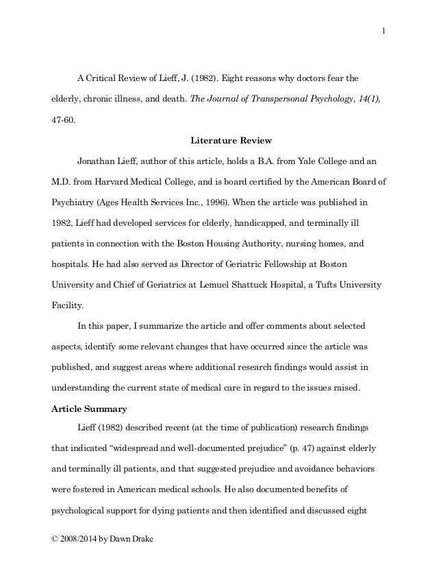 critical review of journal article essay
