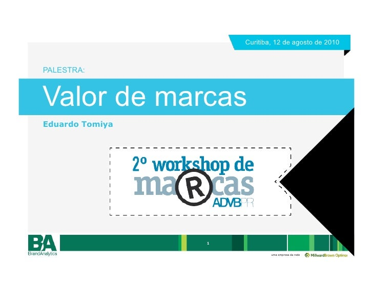 Curitiba, 12 de agosto de 2010    PALESTRA:    Valor de marcas Eduardo Tomiya                      1                      ...