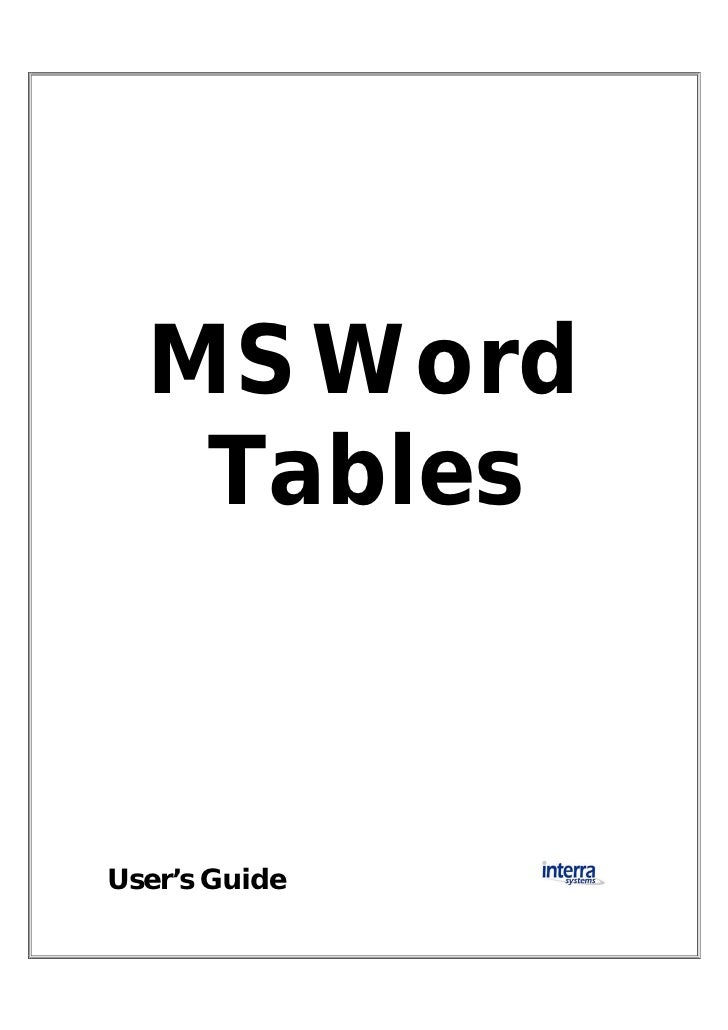 Users Guide To Microsoft Word Tables
