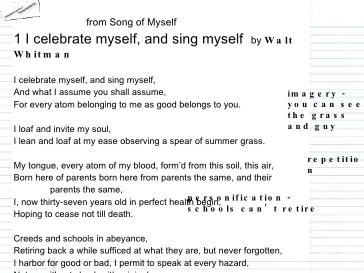 an interpretation of walt whitmans song of myself I am america : exploring identity in allen ginsberg's america and howl as established by walt whitman's song of myself  interpretation, etc.