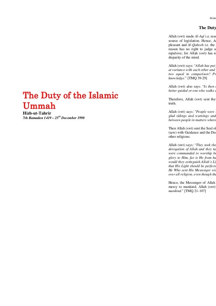 Bismillahi Al-Rahman Al-Raheem                                                           The Duty of the Islamic Ummah    ...