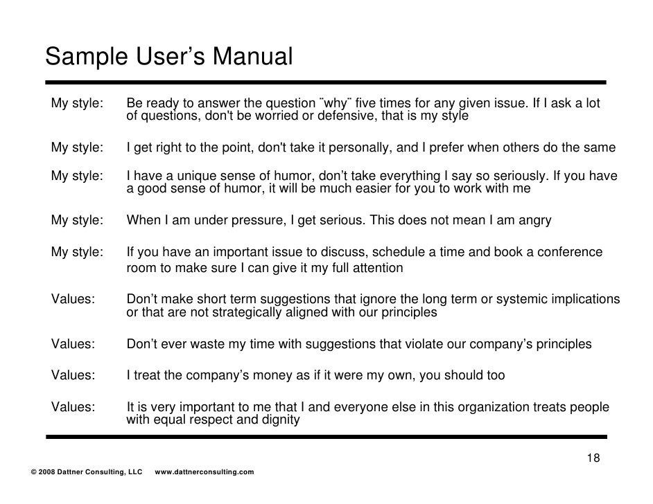 Users manual for Operator manual template