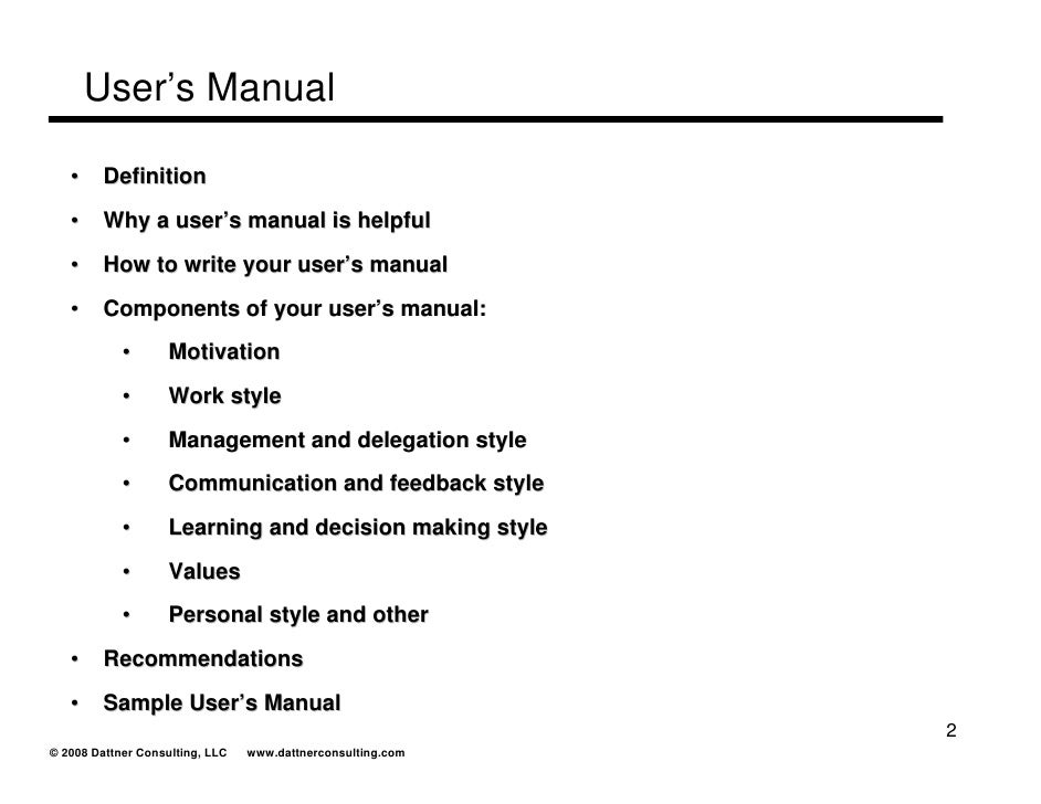 how to write a user manual example