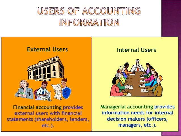 users of accounting information Classification of information as management accounting information and financial accounting information is discussed the purpose of providing accounting information, as well as the qualitative characteristics of decision-useful information, is addressed in the conclusion the users of accounting information are identified.