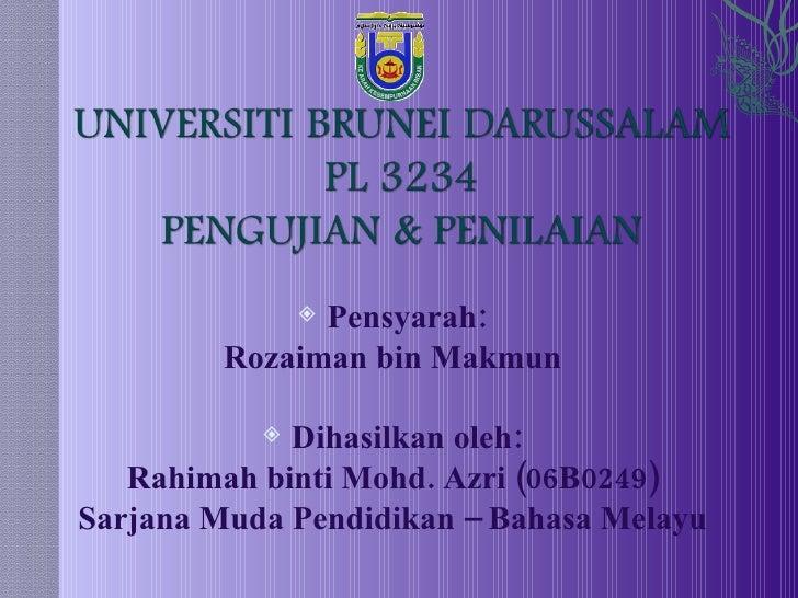 <ul><li>Pensyarah: </li></ul><ul><li>Rozaiman bin Makmun </li></ul><ul><li>Dihasilkan oleh: </li></ul><ul><li>Rahimah bint...