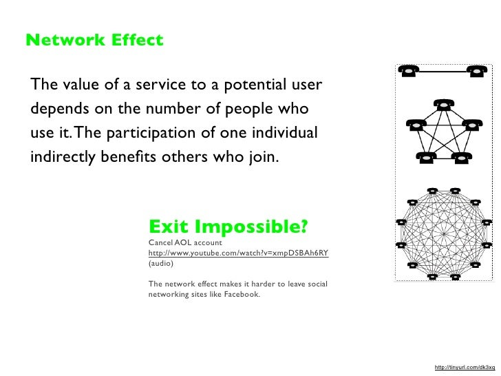 Network Effect  The value of a service to a potential user depends on the number of people who use it. The participation o...