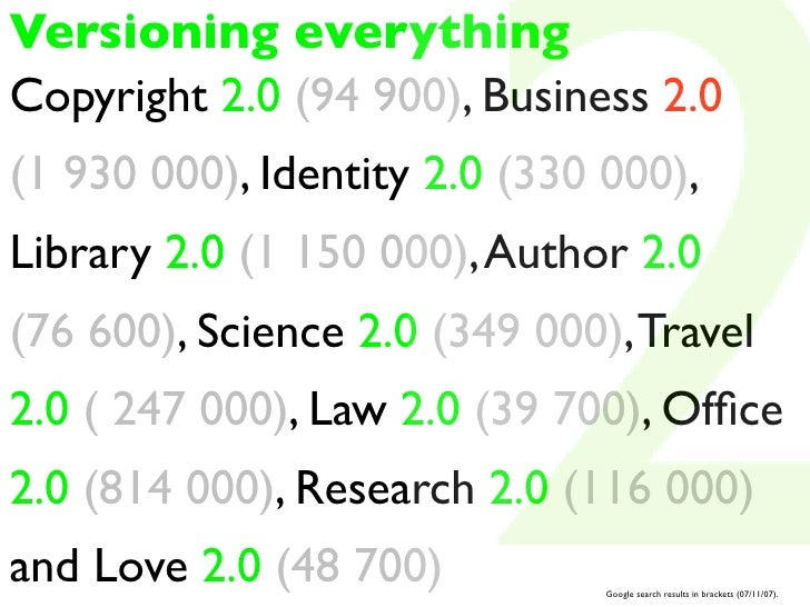 Versioning everything Copyright 2.0 (94 900), Business 2.0 (1 930 000), Identity 2.0 (330 000), Library 2.0 (1 150 000), A...