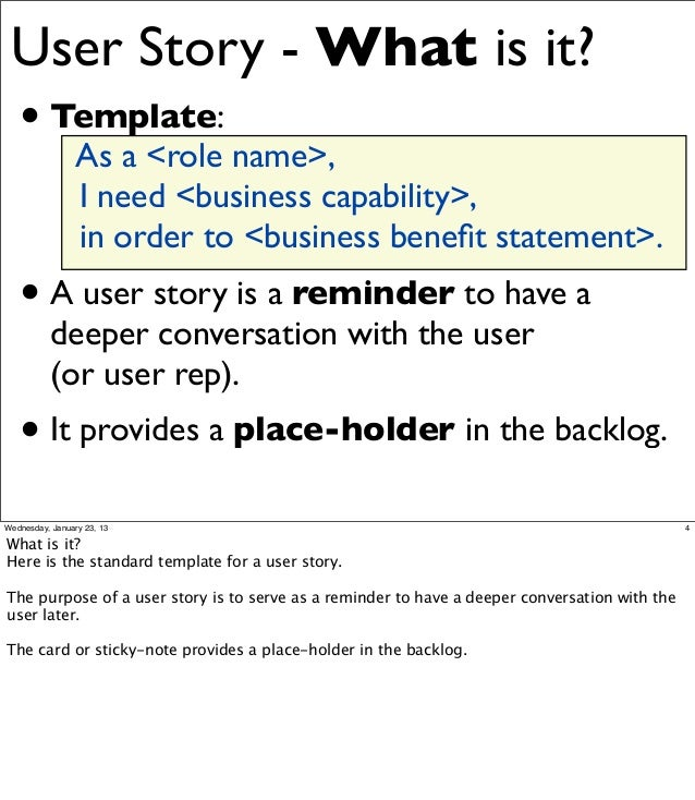 User stories – User Story Template
