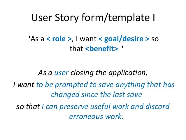 User stories in agile software development for As a user i want user story template